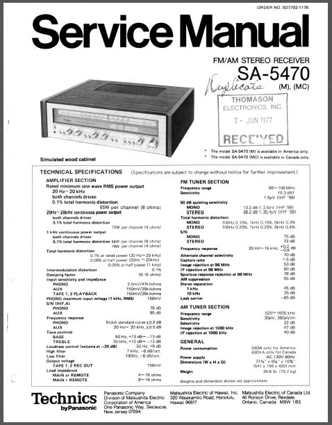 Technics SA-5470 M,MC Service Manual, Analog Alley Manuals