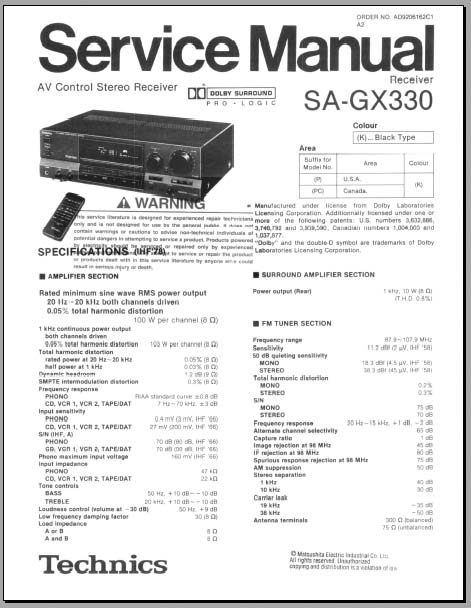 Technics SA-GX330 Service Manual, Analog Alley Manuals