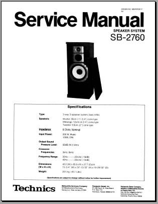 Technics SB-2760 Service Manual, Analog Alley Manuals