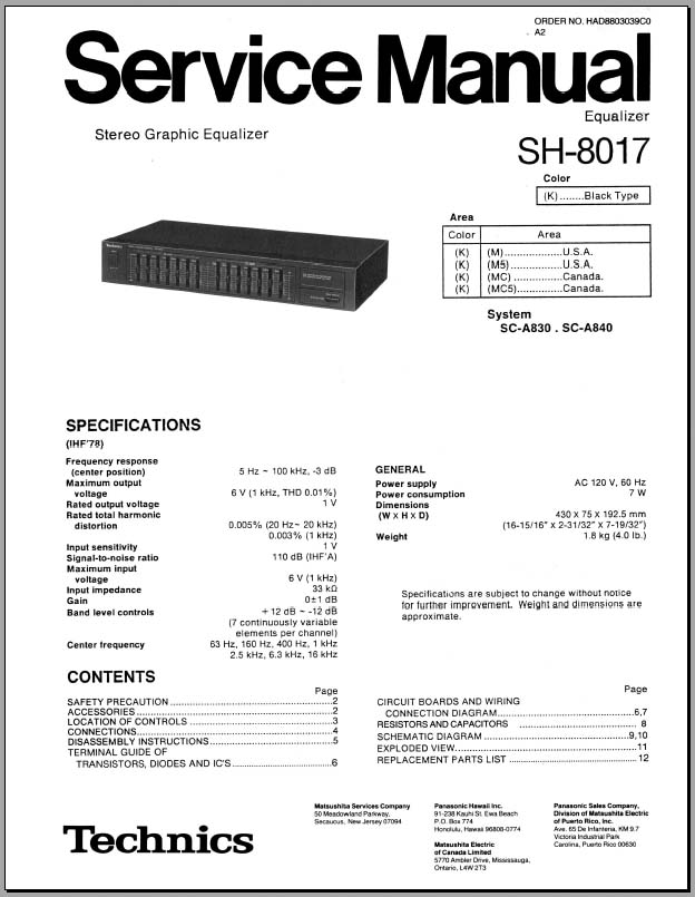 Technics SH-8017 Service Manual, Analog Alley Manuals