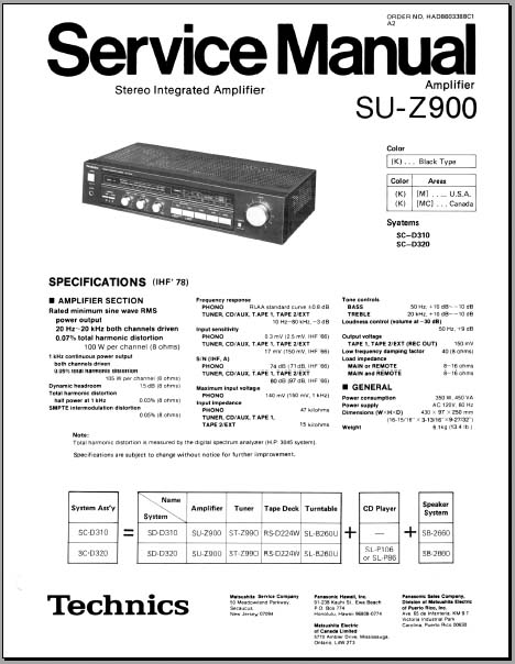 Technics SU-Z900 Service Manual, Analog Alley Manuals