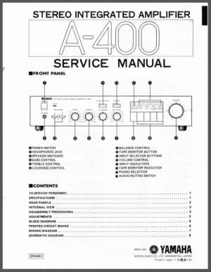 Yamaha A400 Service Manual, Analog Alley Manuals