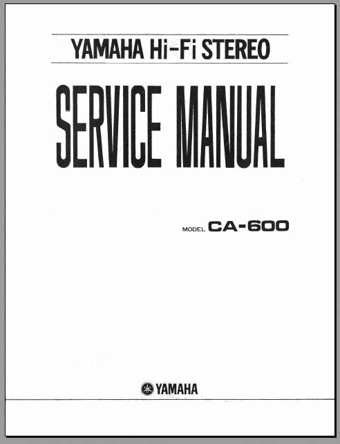 Yamaha CA-600 Service Manual, Analog Alley Manuals