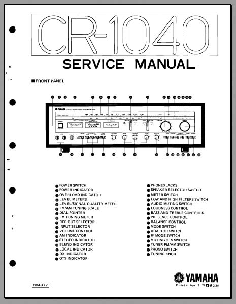 Yamaha CR-1040 Service Manual, Analog Alley Manuals