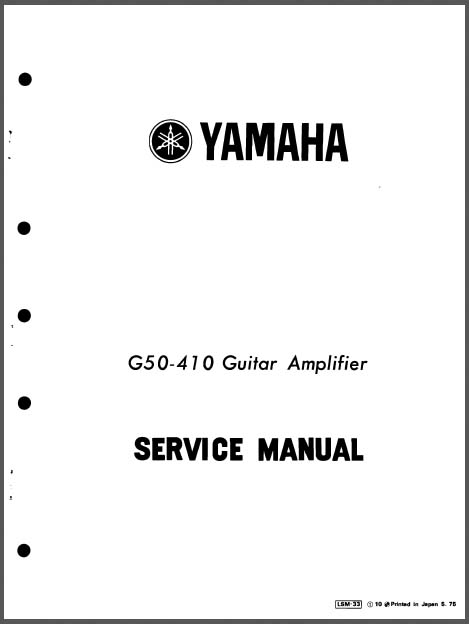 Yamaha G50-410 Service Manual, Analog Alley Manuals