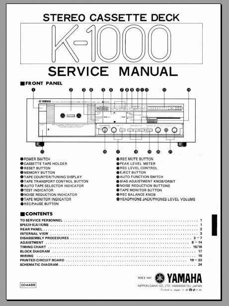 Yamaha K-1000 Service Manual, Analog Alley Manuals