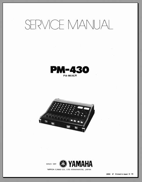 Yamaha PM-430 Service Manual, Analog Alley Manuals