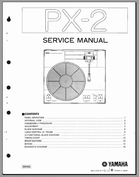 Yamaha PX-2 Service Manual, Analog Alley Manuals
