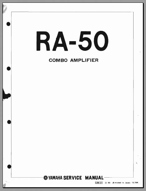 Yamaha RA-50 Service Manual, Analog Alley Manuals