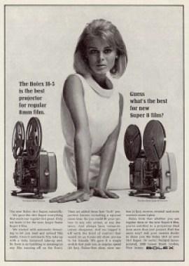 Anuncio publicitario vintage de un projector para Super 8 mm.