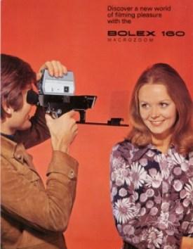 Anuncio publicitario vintage de la cámara Bolex 160. Super 8 mm.