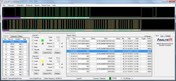 Screenshot of signals received by AnalysIR from Photon using uPWM