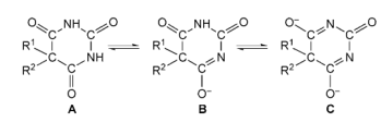Dissociation of C5-substituted barbituric acids: (A) undissociated free acid; (B) mono-anion; (C) di-anion.
