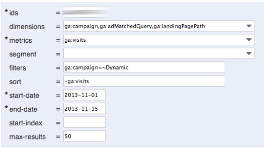 Impostazioni google Analytics Query Explorer
