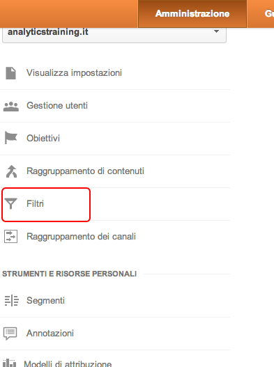 filtri Google Analytics