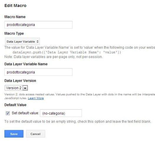 Tag Manager: configurazione macro