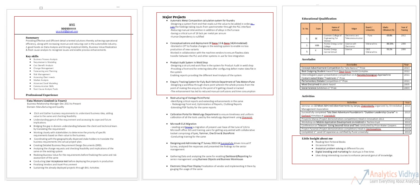 data science with python resume example