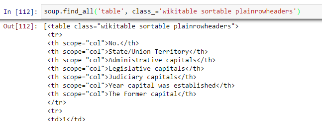 beautifulsoup, find_all, table