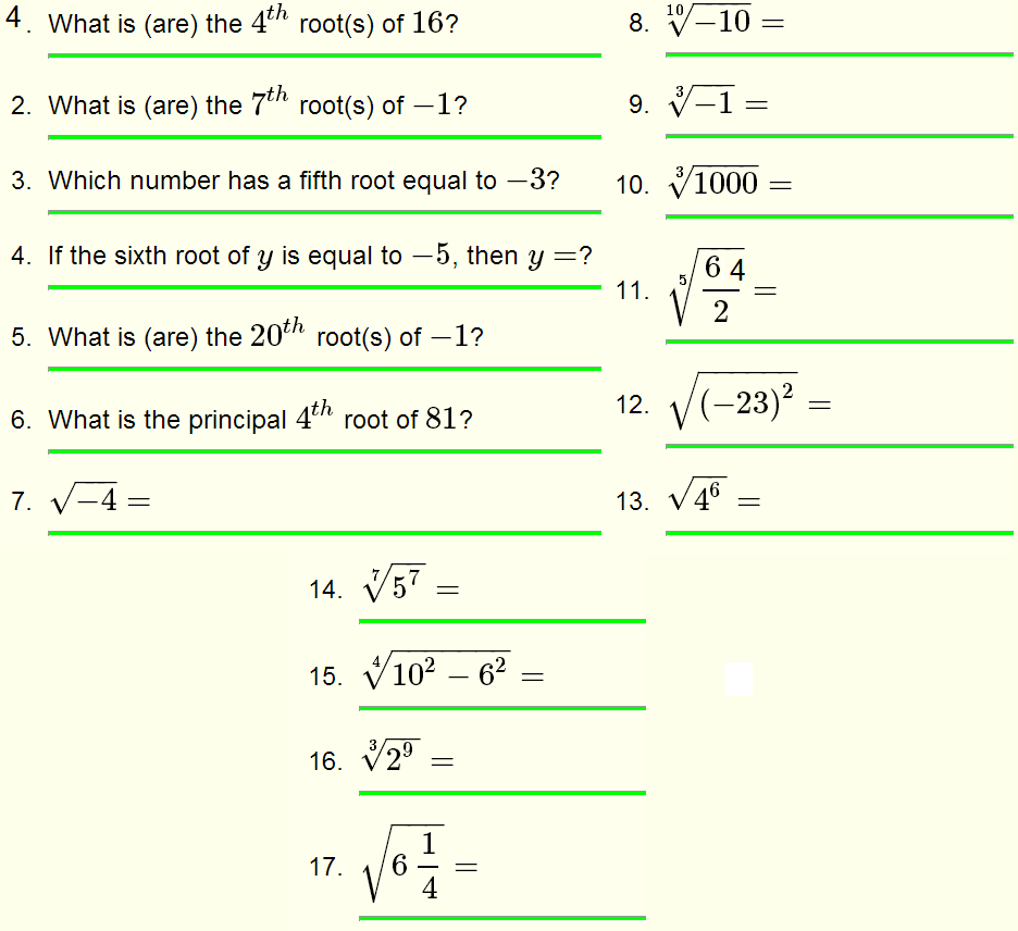 hight resolution of Roots of Real Numbers and Radicals - Questions with Solutions