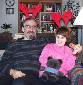 Also circa 2004: Rhiannon and I fill in for Prancer and Rudolph. This is Fran's favorite picture of us.