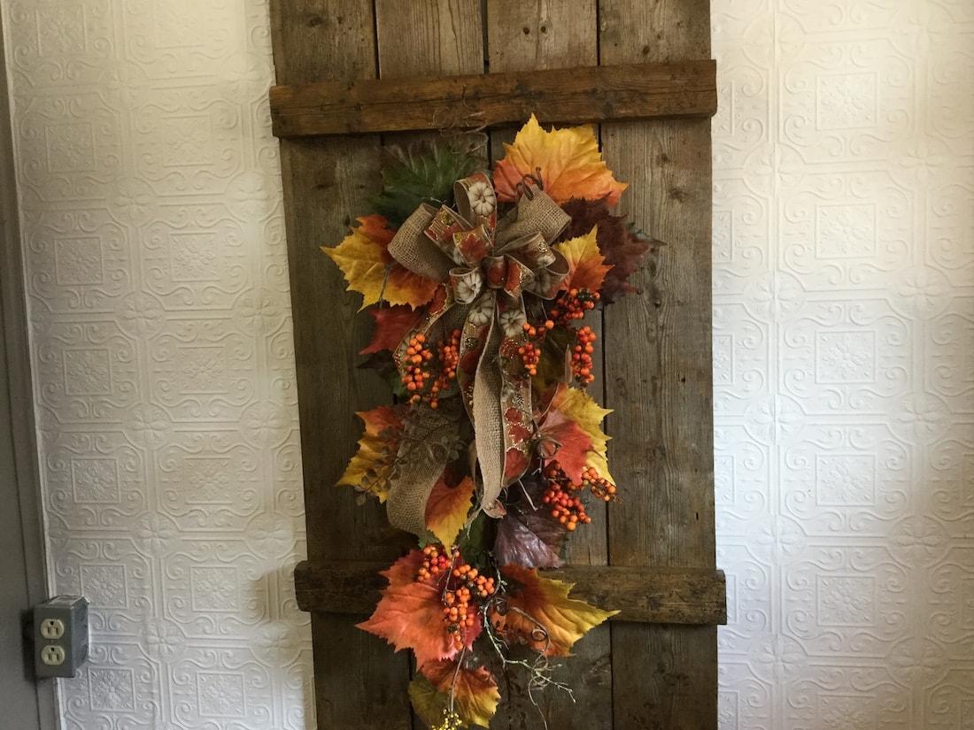 wooden door with artificial