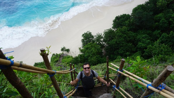 ...then stepping down on rickety bamboos to see the lost beach