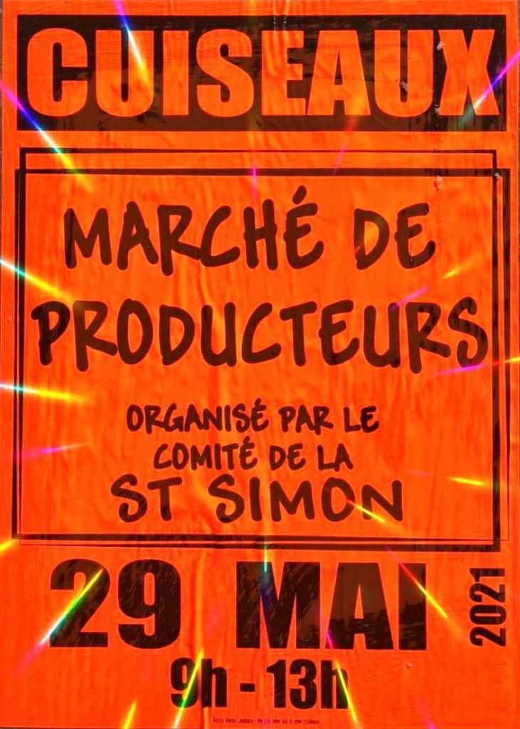 Affiche du marché de producteurs organisé par le Comité de la Saint-Simon le 29 mai 2021 de 9H à 13H