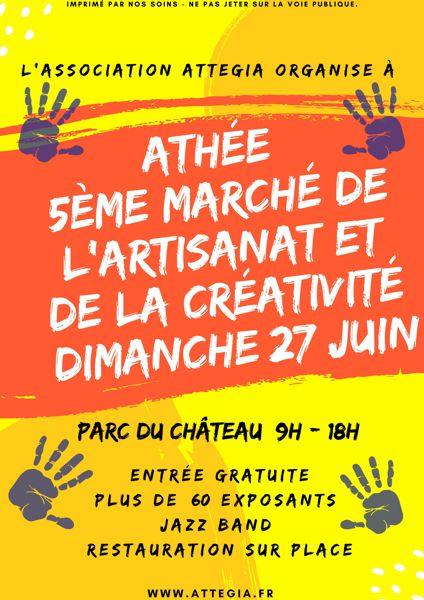 Affiche du 5ème marché de l'artisanat et de la créativité  Dimanche 27 juin à Athée