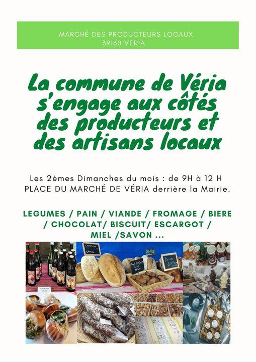 Affiche du marché de producteurs de Véria, dans le Jura (39)