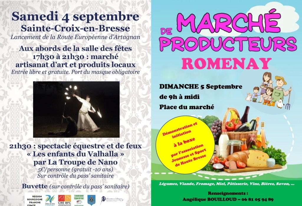 Affiche des marchés de Sainte Croix en Bresse et de Romenay