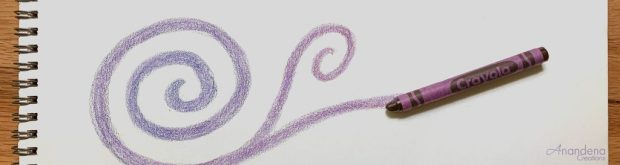 photo of a sketchbook with a purple swirl doodle with a purple crayon at the end of the swirl
