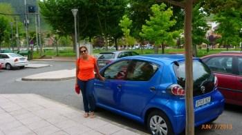 Nosso carrinho estacionado em Nájera