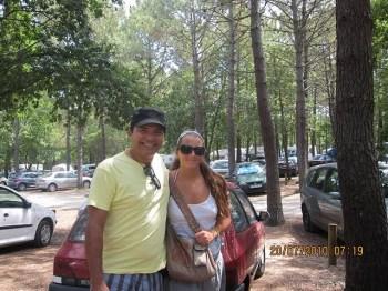 Santiago e Alexia, nossa amiga francesa, chegando às Dunes du Pylas