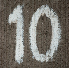 Large number 10 painted on wall WordPress