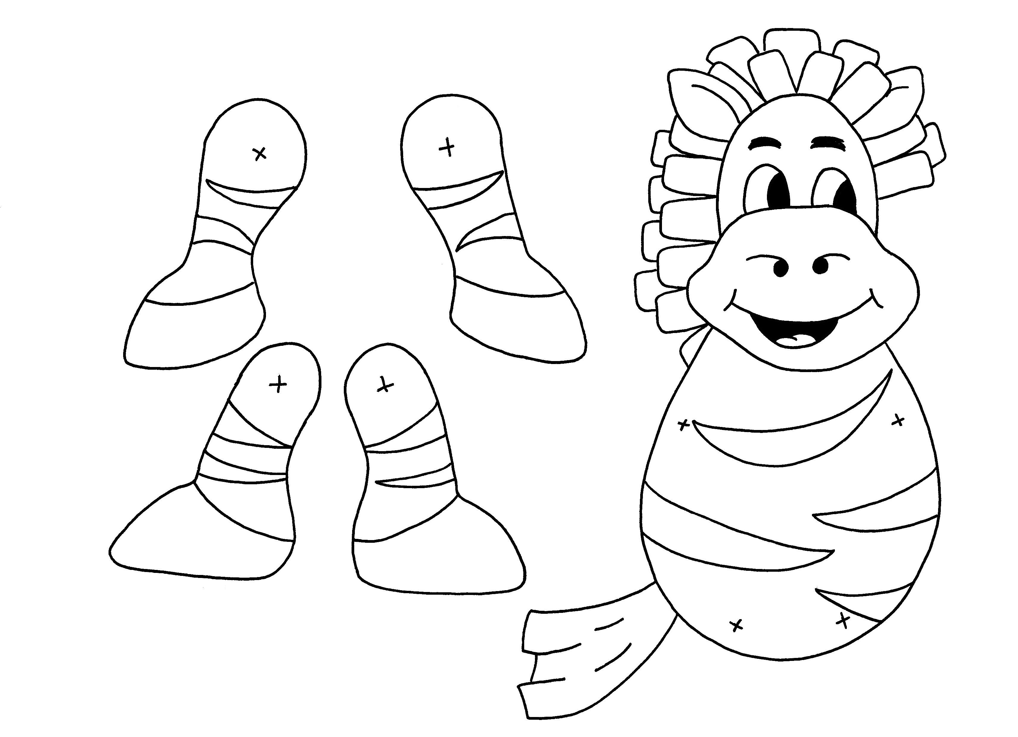 Download PDF Zebra finger puppet