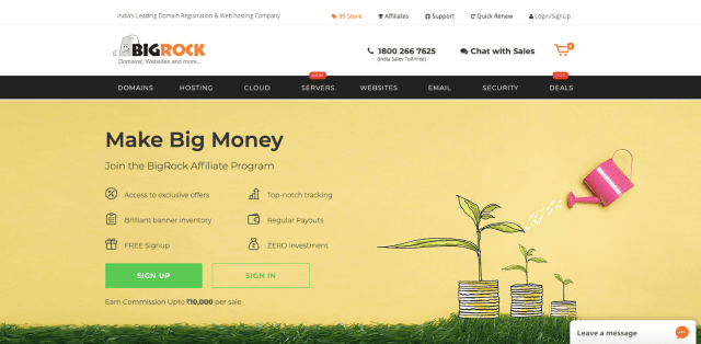 Bigrocks - Best Affiliate Networks and Programs in India 2020