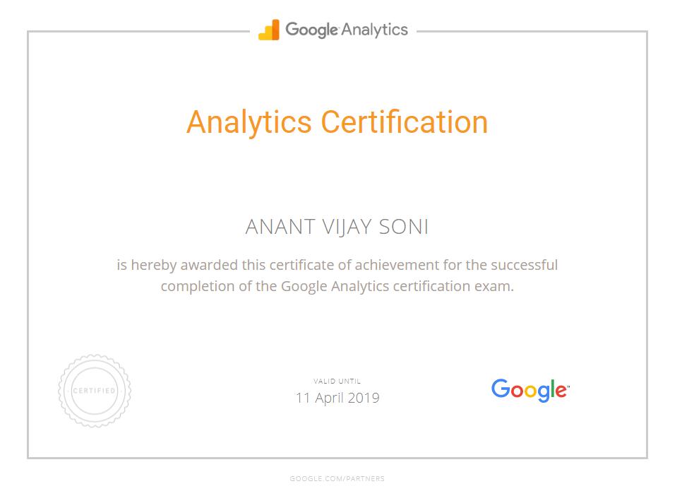 Anant Vijay Soni - Google Analytics Certification