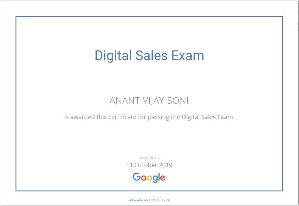 Anant Vijy Soni - Google Digital Sales Exam Certificate