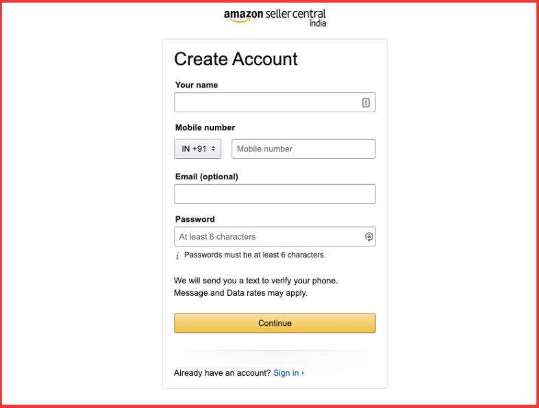 Create an account on amazon seller central - Sell on Amazon