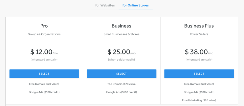 Weebly Online Store Pricing and plans