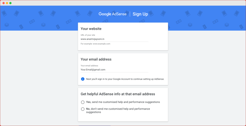Google Adsense SignUp with email and website address