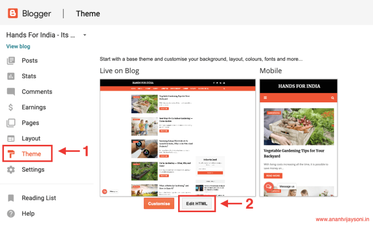 Login to your Blogger blog and click on Theme > Edit HTML - Table of content for Blogger and Blogspot