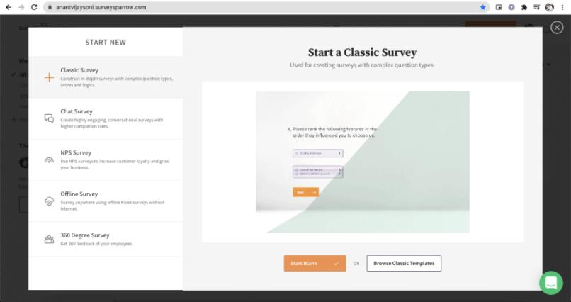 Types of Surveys on SurveySparrow