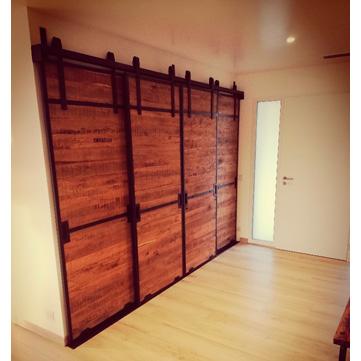 ensemble portes placard coulissantes suspendues fer et bois