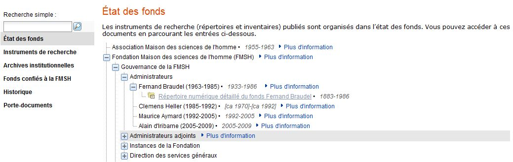 Exemple de lien vers un répertoire numérique (fonds Fernand Braudel)