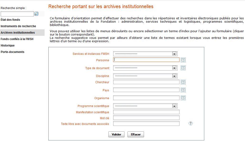 Formulaire de recherche dans les archives institutionnelles