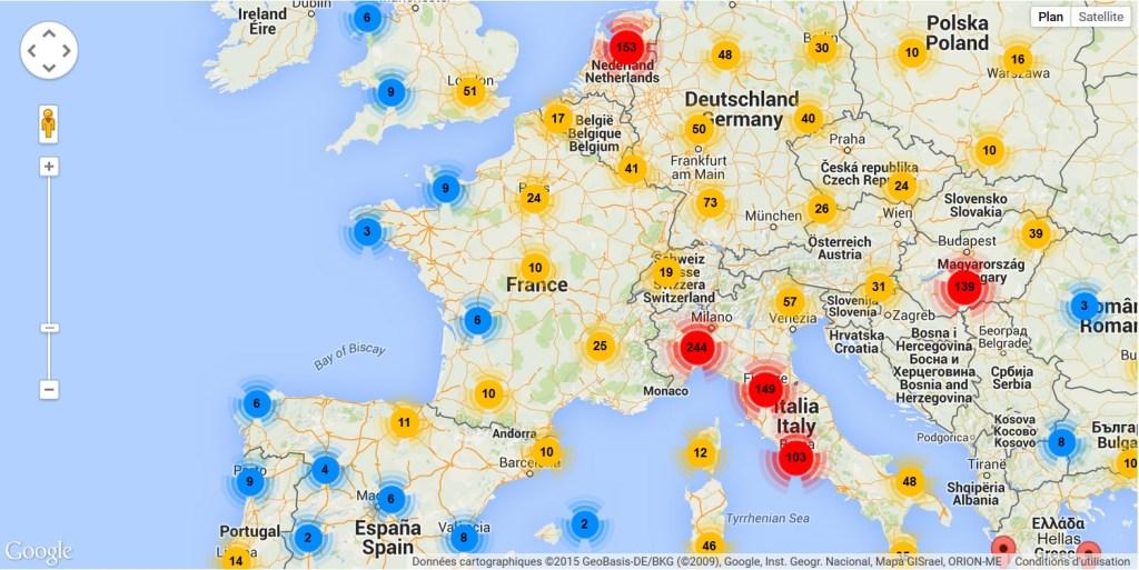 Cartographie, à l'échelle de l'Europe, des institutions participant au portail européen des archives sur la page annuaire du site
