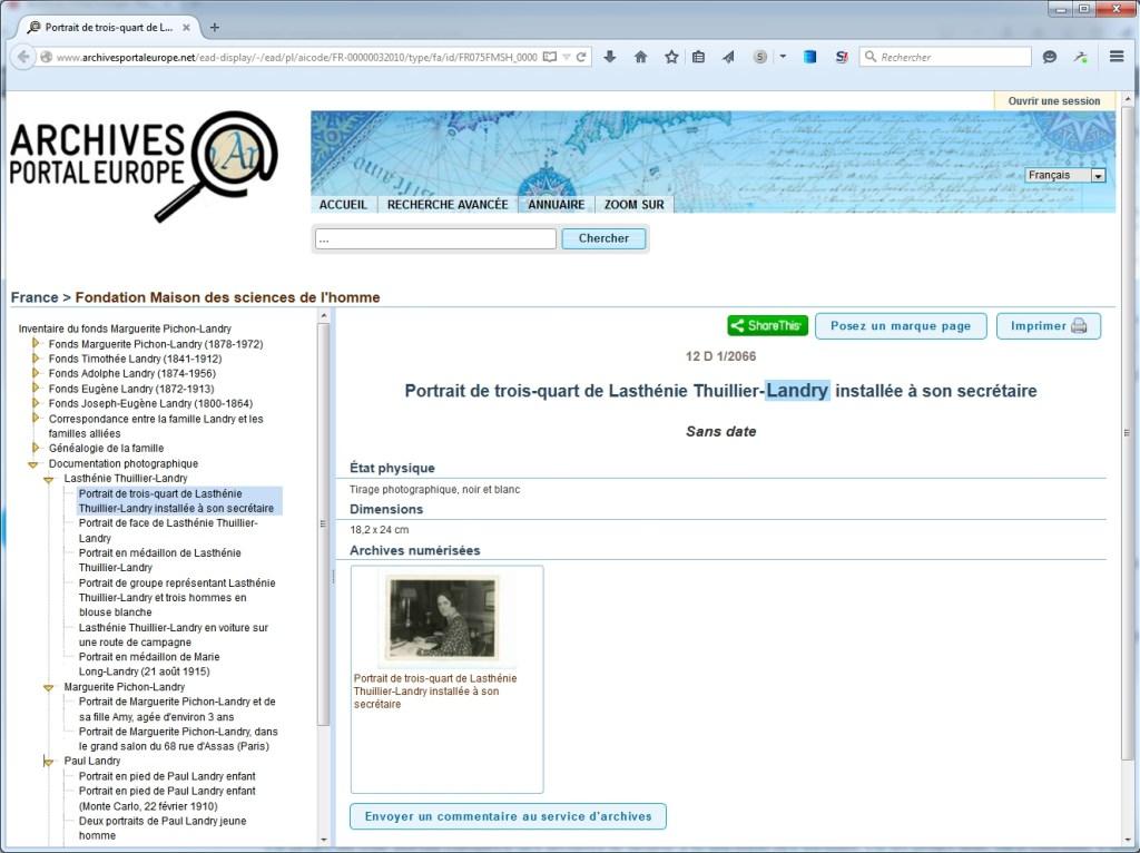 Exemple de description avec vignette dans le portail européen des archives