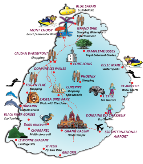Mauritius Travel Map guide
