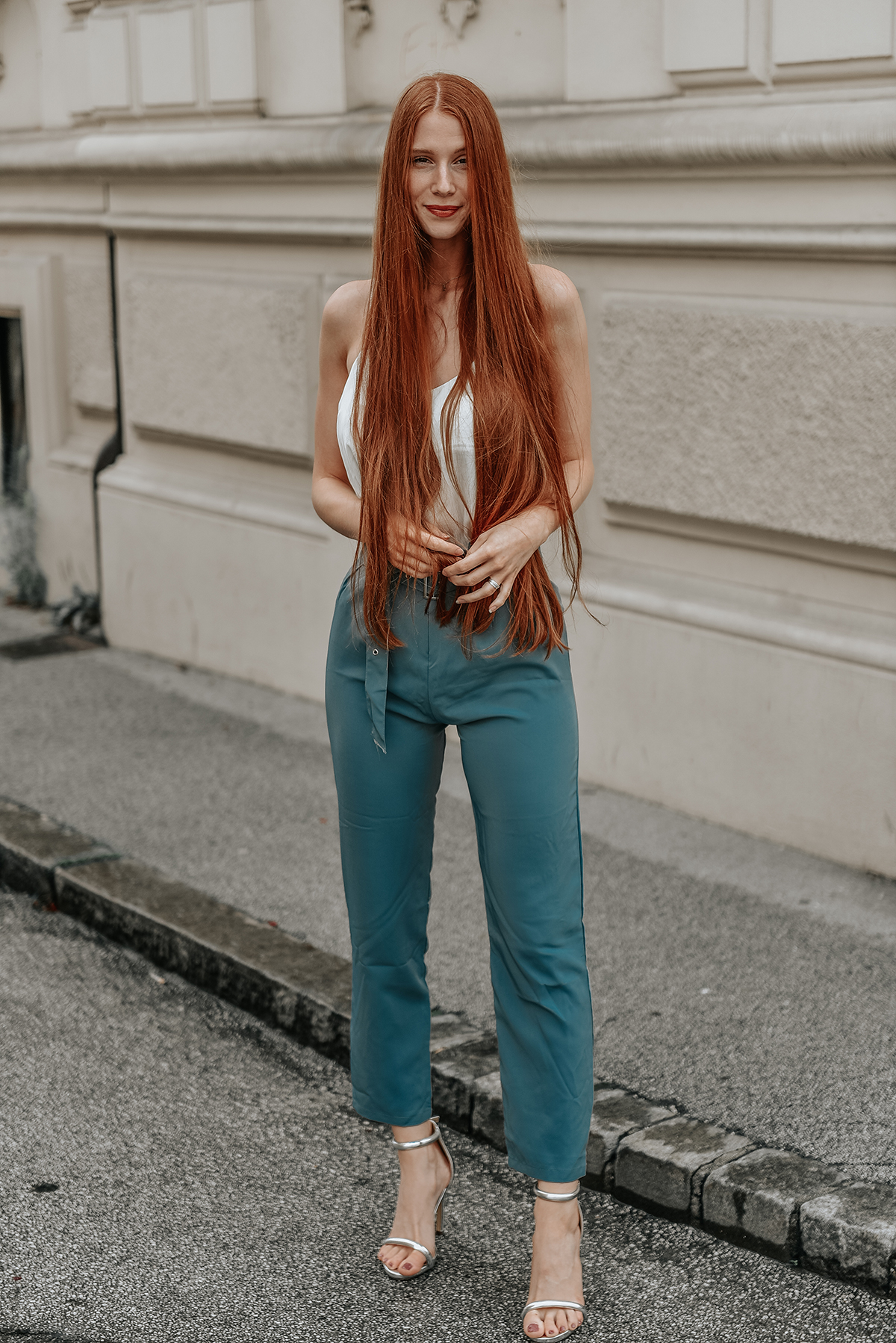 SHEIN Pleated Tailored Pants With Buckle Belt